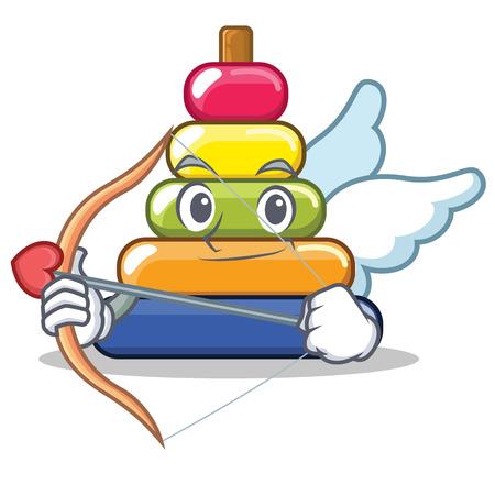 Cupid pyramid ring character cartoon vector illustration Illustration