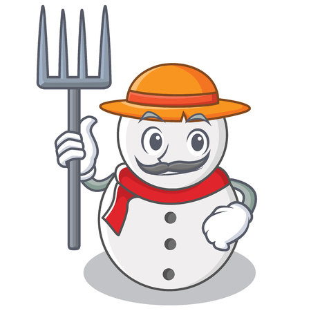 Farmer snowman character cartoon style, vector illustration.