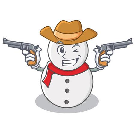 Cowboy snowman character cartoon style vector illustration Illustration