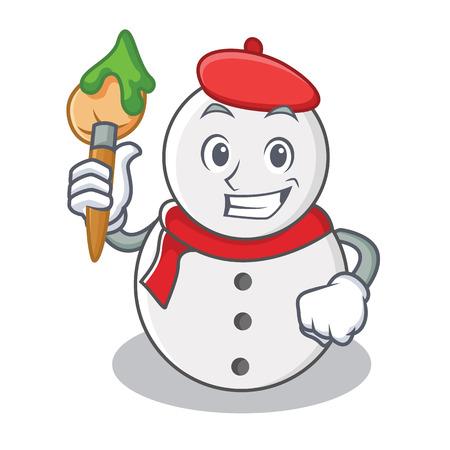 Artist snowman character cartoon style vector illustration Illustration