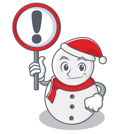 With sign snowman character cartoon style vector illustration Illustration