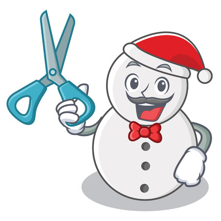 Barber snowman character cartoon style vector illustration