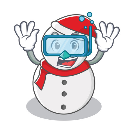 Diving snowman character cartoon style vector illustration