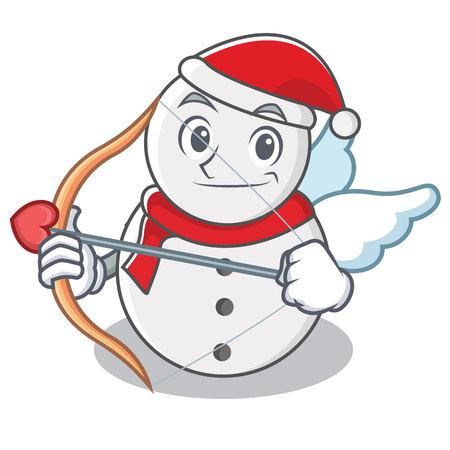 Cupid snowman character cartoon style vector illustration Illustration