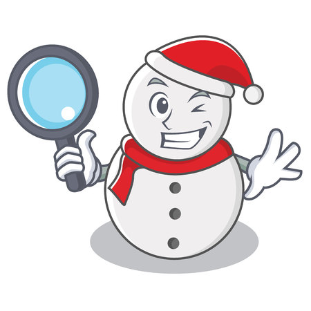 Detective snowman character cartoon style vector illustration Illustration