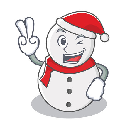 Two finger snowman character cartoon style vector illustration