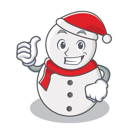 Thumbs up snowman character cartoon style vector illustration