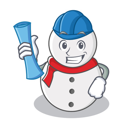 Architect snowman character cartoon style vector illustration Illustration