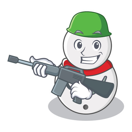Army snowman character cartoon style vector illustration