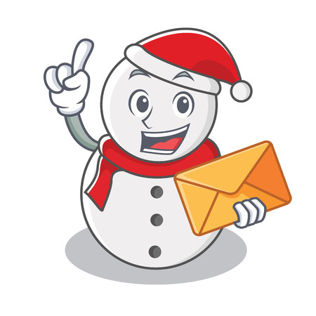 With envelope snowman character cartoon style vector illustration