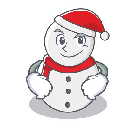 Smirking snowman character cartoon style, vector illustration. 向量圖像