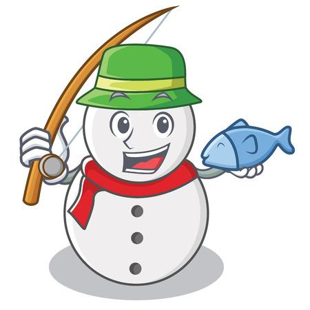 Fishing snowman character cartoon style Illustration
