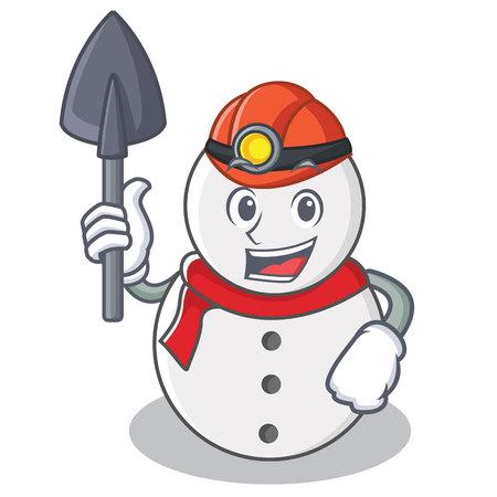 Miner snowman character cartoon style illustration.