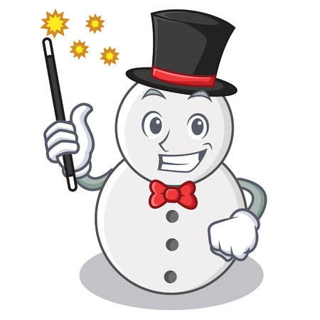 Magician snowman character cartoon style vector illustration