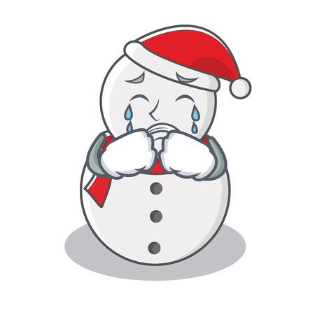 Crying snowman character cartoon style vector illustration Çizim