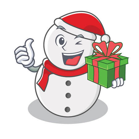 With gift snowman character cartoon style vector illustration