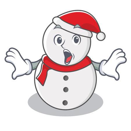 Surprised snowman character cartoon style vector illustration 일러스트