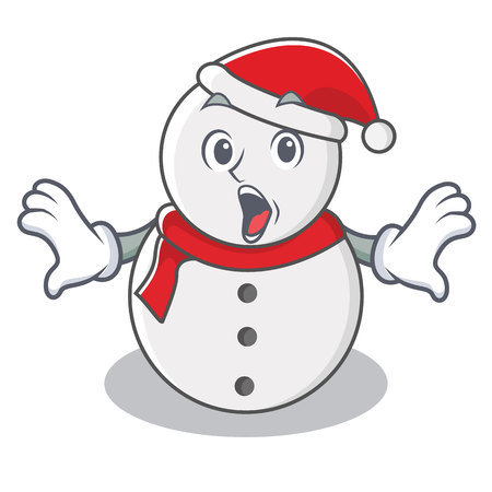 Surprised snowman character cartoon style vector illustration Vectores