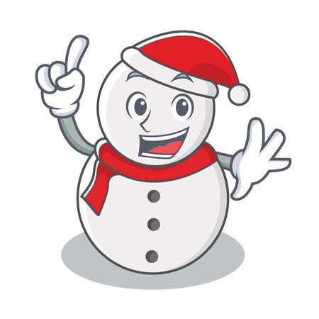 Finger snowman character cartoon style vector illustration