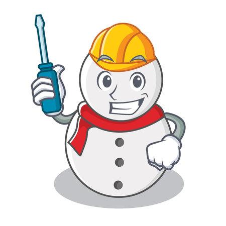 Automotive snowman character cartoon style vector illustration