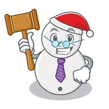 Judge snowman character cartoon style