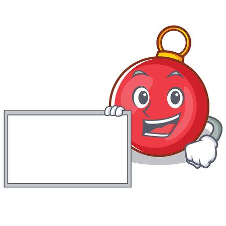 With board Christmas ball character cartoon vector illustration