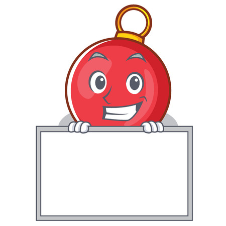 Grinning with board Christmas ball character cartoon vector illustration Illustration