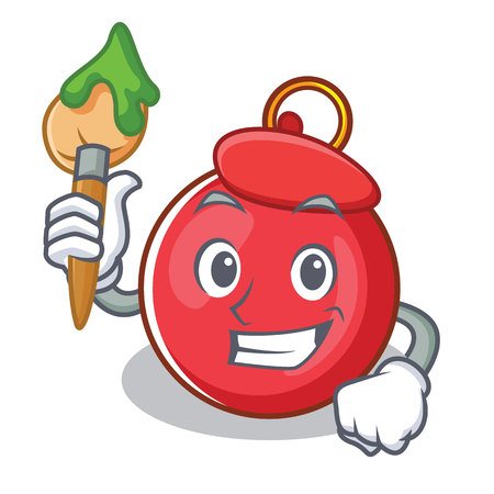 Artist Christmas ball character cartoon vector illustration Illustration