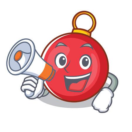 With megaphone Christmas ball character cartoon vector illustration