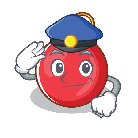 Police Christmas ball character cartoon vector illustration