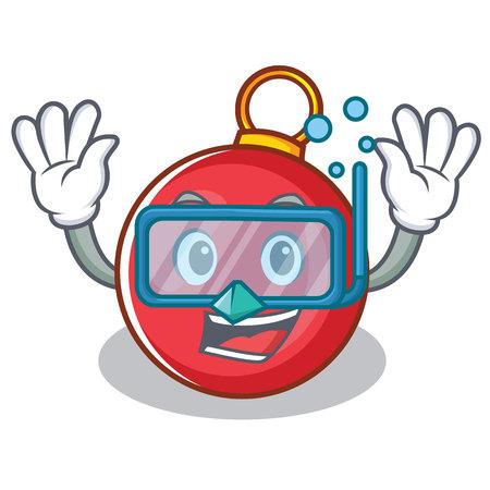 Diving Christmas ball character cartoon vector illustration