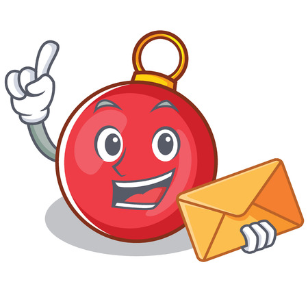 With envelope Christmas ball character cartoon vector illustration