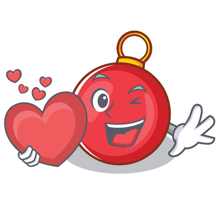With heart Christmas ball character cartoon vector illustration