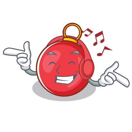 Listening music Christmas ball character cartoon vector illustration