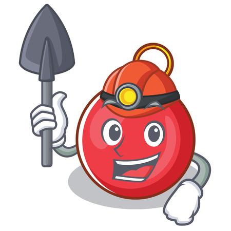 Miner Christmas ball character cartoon vector illustration Illustration