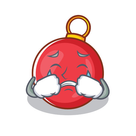 Crying Christmas ball character cartoon vector illustration