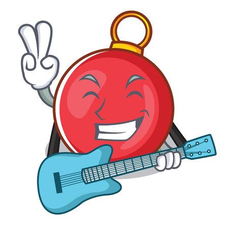 With guitar Christmas ball character cartoon vector illustration