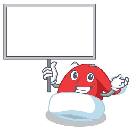 Bring board Christmas hat character in cartoon vector illustration Illustration