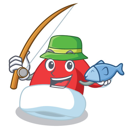 Fishing Christmas hat character cartoon