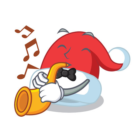 With trumpet Christmas hat character cartoon