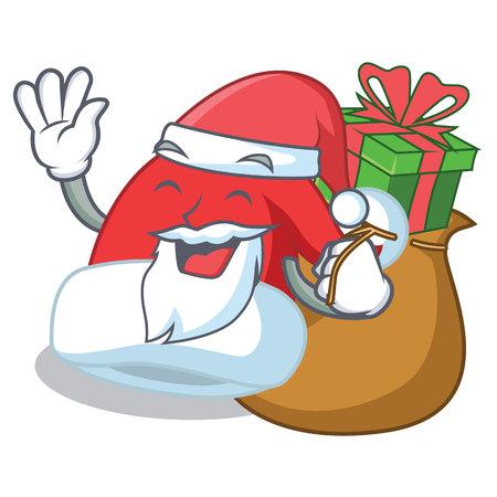 Santa with gift Christmas hat character cartoon vector illustration