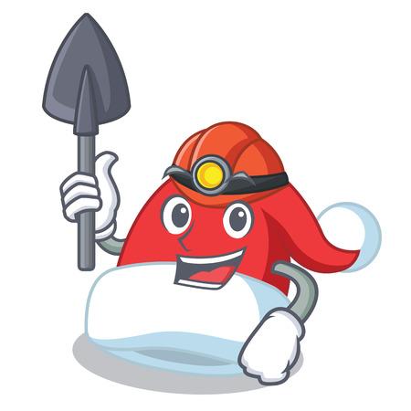 Miner Christmas hat character cartoon