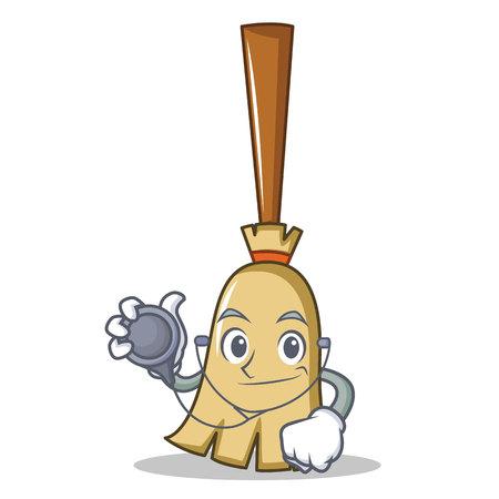 Doctor broom character cartoon style