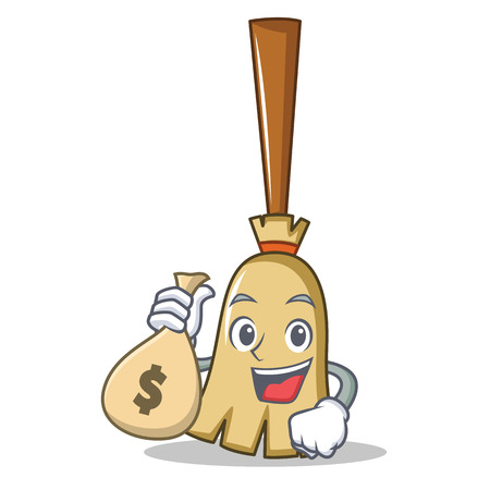 With money bag broom character cartoon style
