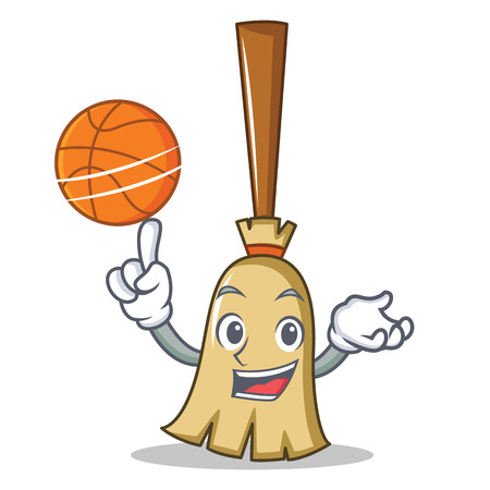 With basketball broom character cartoon style