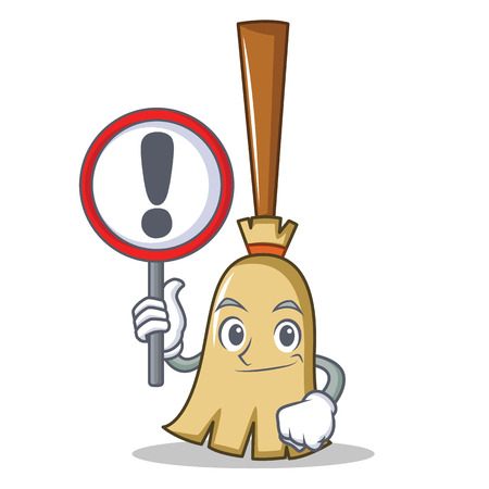 With sign broom character cartoon style vector illustration