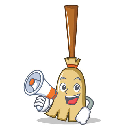 With megaphone broom character cartoon style vector illustration