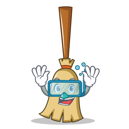 Diving broom character cartoon style