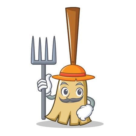 A Farmer broom character cartoon style vector illustration Illustration