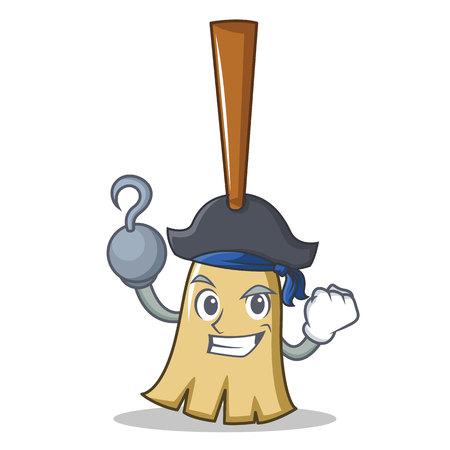 Pirate broom character cartoon style vector illustration